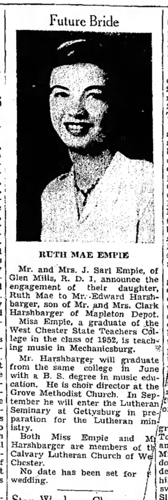 Ruth Mae Empie-engaged-TDN-p.9-23 April 1953 -