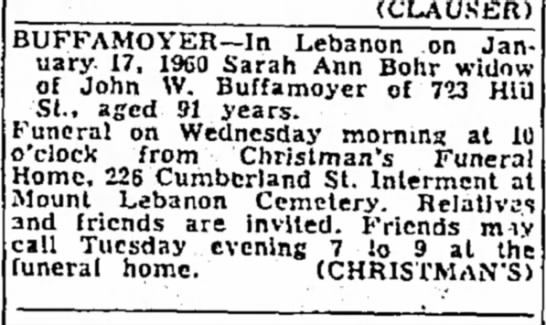Sarah Ann Bohr Buffamoyer funeral notice
