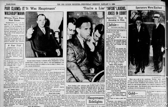 News of the Lindbergh kidnapping trial accompanied by AP Wirephotos, Jan 1935 -