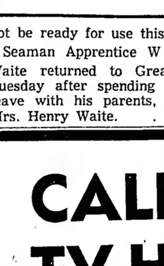William Waite-Seaman Apprentice from Janesville Daily Gazette Sep 2, 1954 -