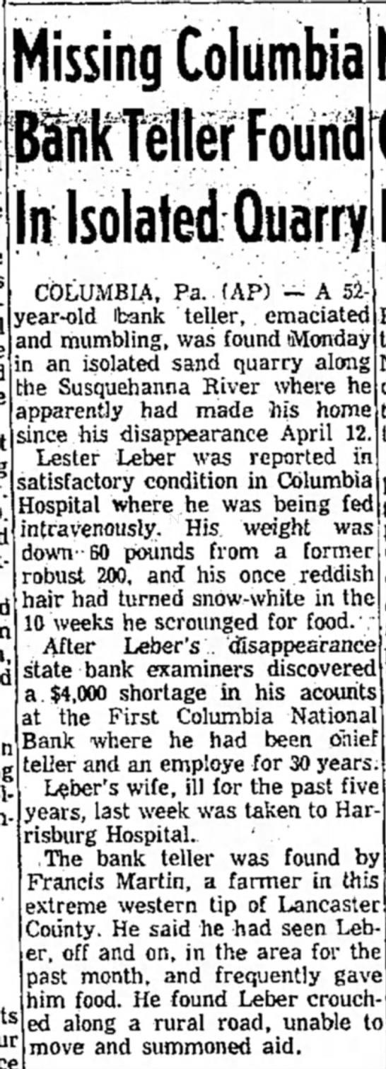 Lester Leber found in quarry -