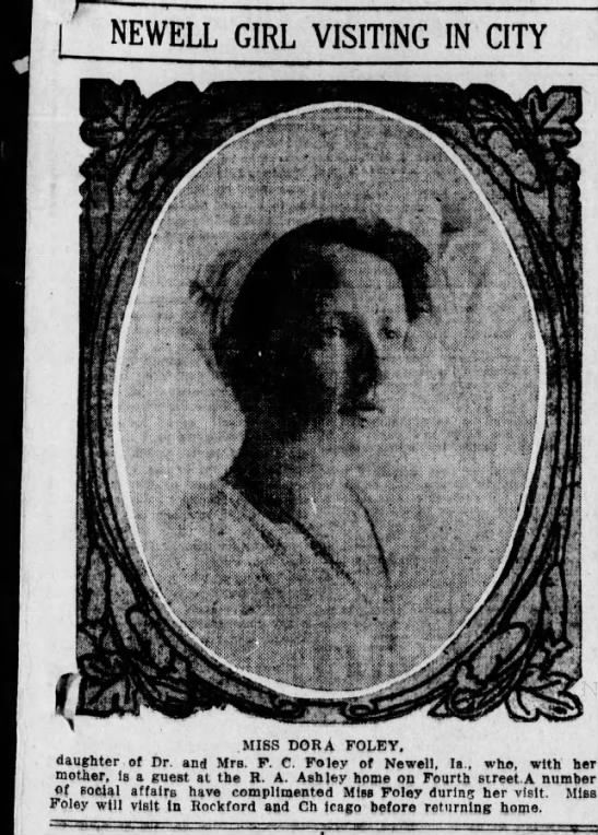 This is Miss DONA (for ELdona, names after her mother., d. 1899, F. C. Foley's first wife) -