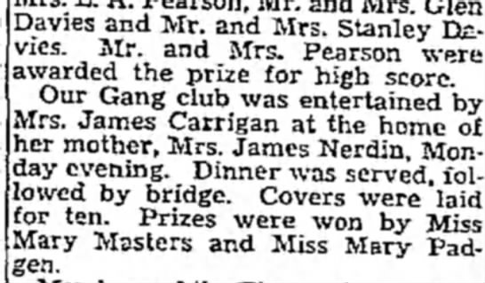 Apr. 3, 1932 Nona Carrigan hosts Our Gang bridge club. -