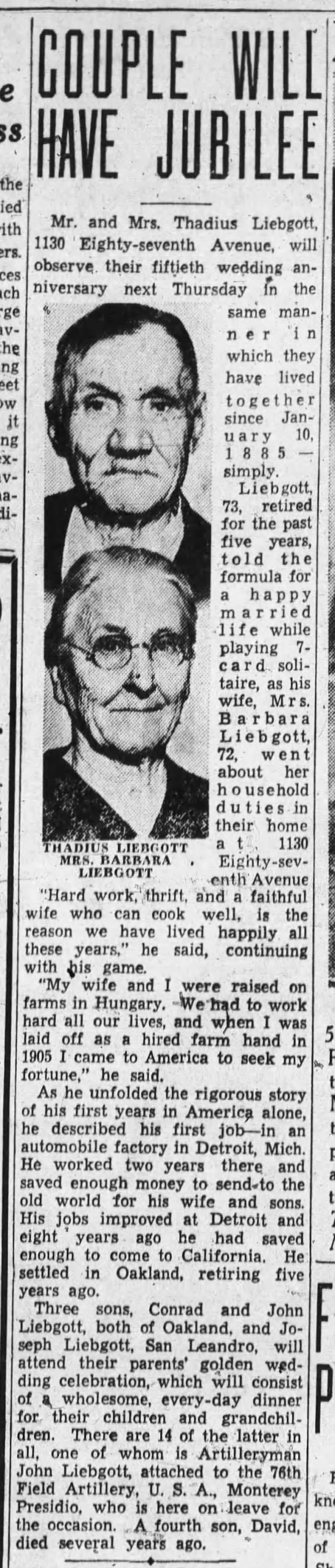 Couple will have Jubilee, Oakland Tribune (on January 6, 1935, p6) -