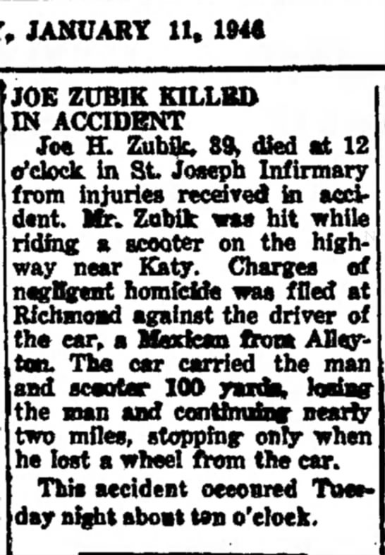 Joe H. Zubik killed in accident -