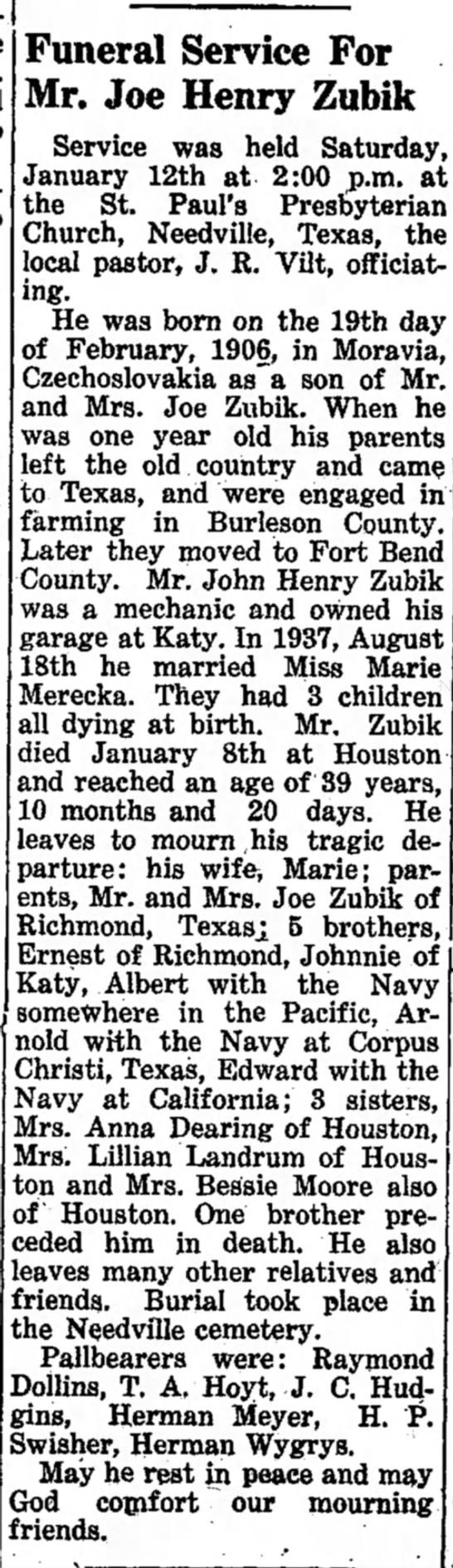 Funeral Service for Joe Henry Zubik - 1946 -