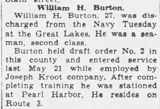 William H. Burton discharged after six months service -