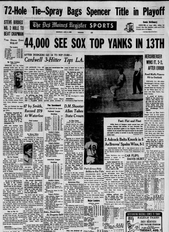 August 6, 1962 Spray beats Chapman in Northwest Amateur playoff -
