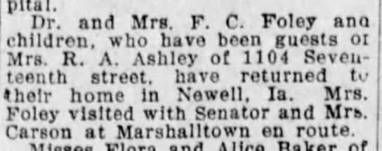 Ra Ashley was Mrs. FC Foley's (Fay Ashley Foley) mother. -