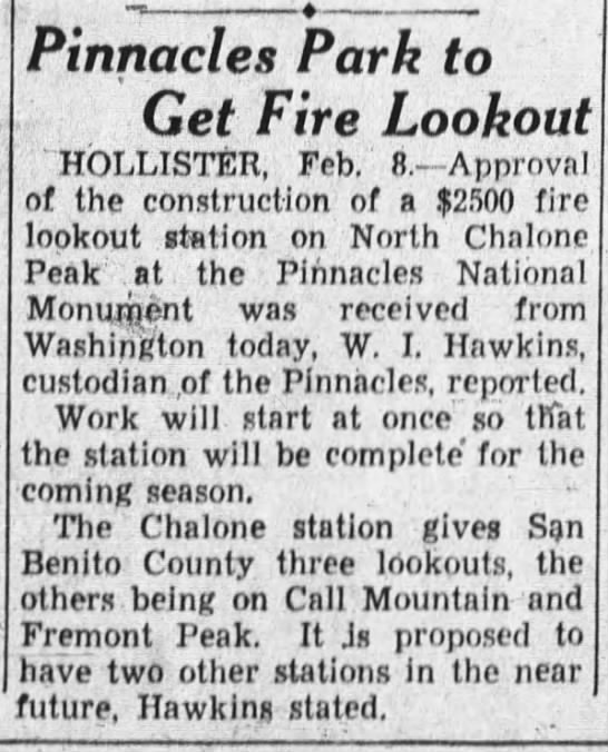 1935-2-8 Pinnacles Park to Get Fire Lookout (Chalone) - - ; Pinnacles Park to Get Fire Lookout...