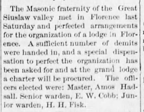 - The Masonic fraternity of the Ureal Siuslaw...