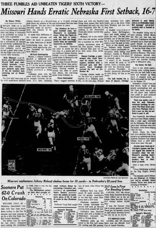 1962 Nebraska-Missouri, Des Moines Register -