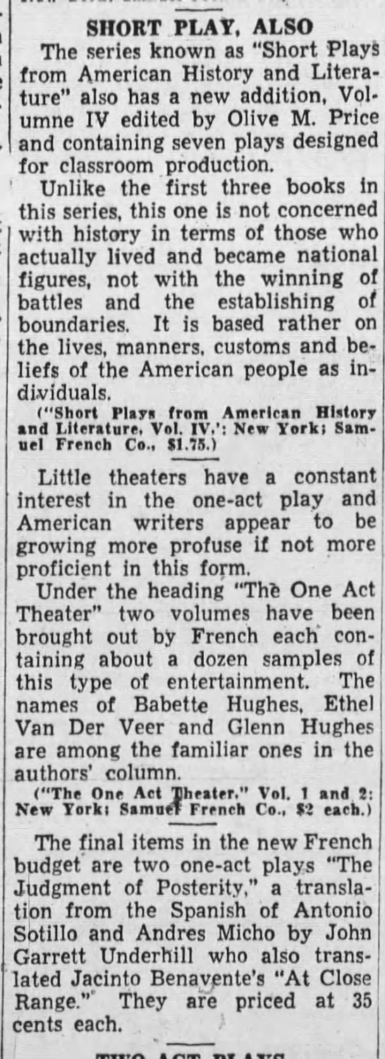 Short Play, Also, Oakland Tribune (Oakland, California) March 15, 1936, page 32 -