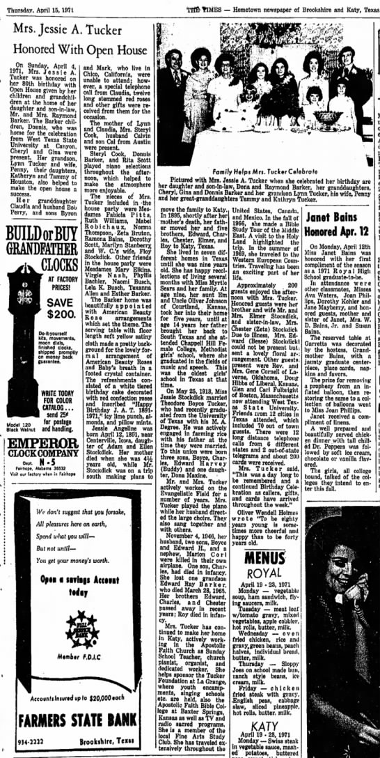 Jessie (Stockdick) Tucker, 15 Apr 1971, The Brookshire Times, Janet Bains -