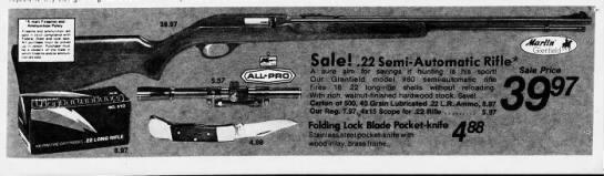 Kmart - rifle and knives - 10 Jun 1979 - kmnZntt'otK? I 39.97 : SiccaJ - Zi ; Solo! .22...