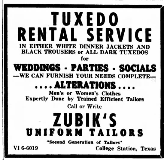 Zubik's Uniform Tailors -- advertisement -