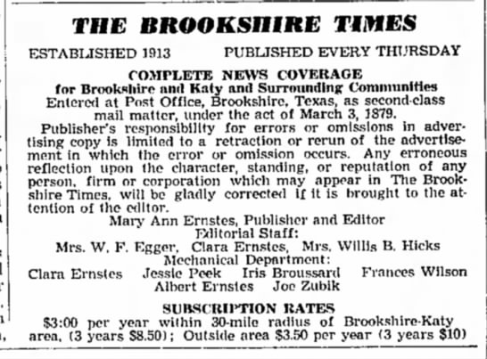 Joe Zubik -- Staffer at Brookshire Times  - THE BROOKSmRE TIMES ESTABIJSHED 1913 PUBLISHED...