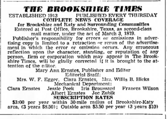 Joe Zubik -- Thr Brookshire Times staff -