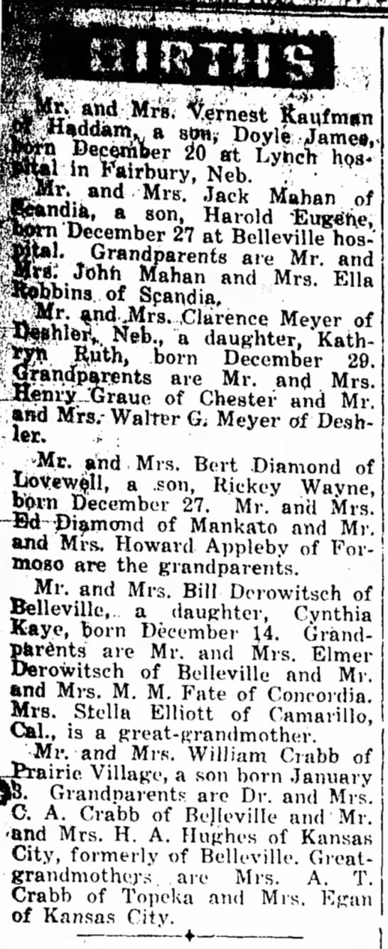 Birth announcements for January 6, 1955 - Belleville Telescope -