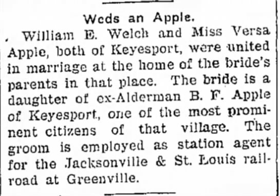 Welch-Apple marriage -