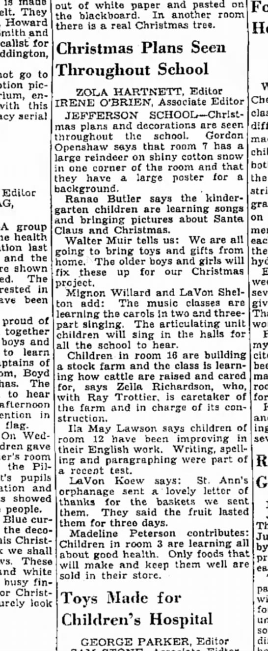 Dec 3, 1938 - Salt Lake Tribune - Saturday - is made They Howard Smith and vocalist for...