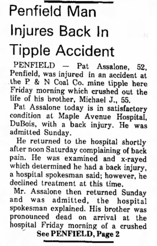 Michael Assalone Mine accident January 7, 1974 -