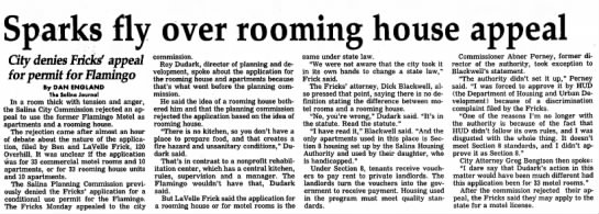Frick Permit - Sparks fly over rooming house appeal City...