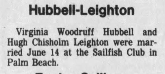 Hubell-Leighton wedding announcement - Sailfish Club