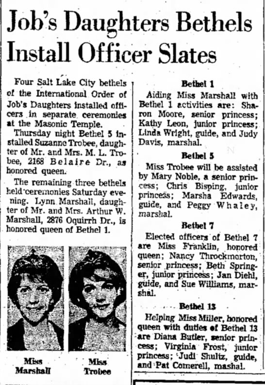Lynn Marshall Queen of Bethel 1, Ogden Standard-Examiner, 5 Jan 1964 -
