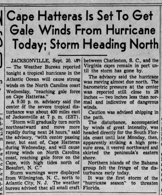 North Carolina to feel effects of passing hurricane, 1938 -