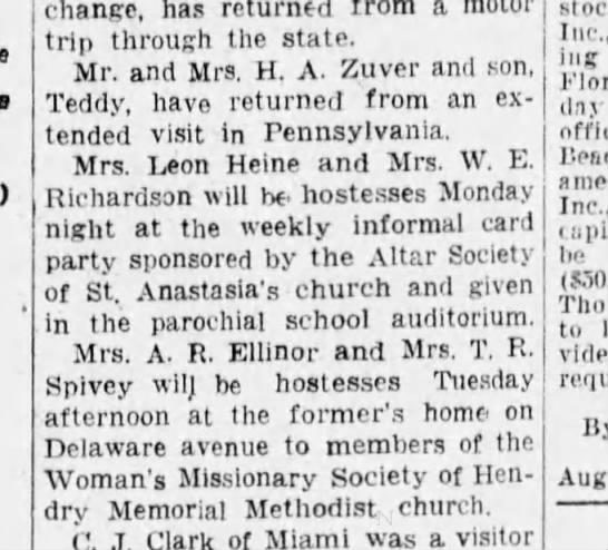 The PALM BEACH POST (West Palm Beach, Fl) ft. Pierce Society news 27 Aug 1929 -