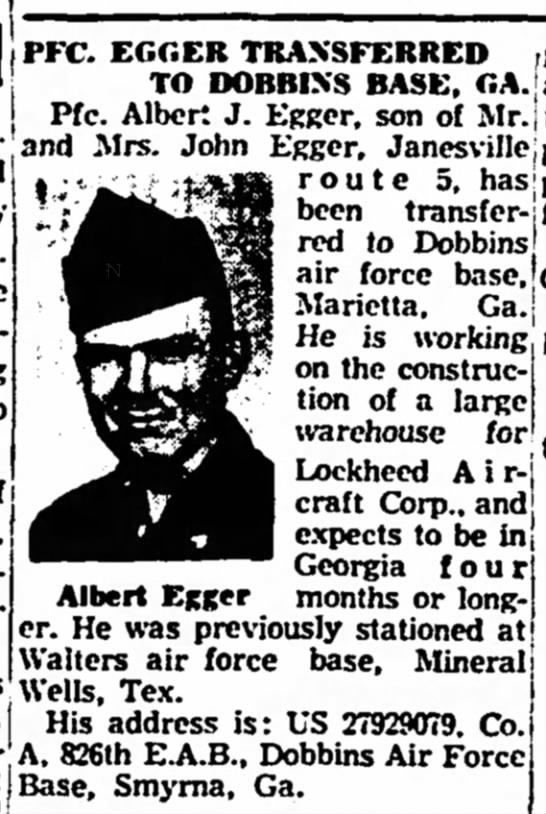 PFC Egger Transfered to Dobbins Base,Georgia Janesville Daily Gazette,15 September 1952 -