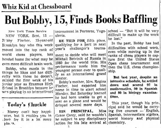 Whiz Kid at Chessboard But Bobby, 15, Finds Books Baffling -