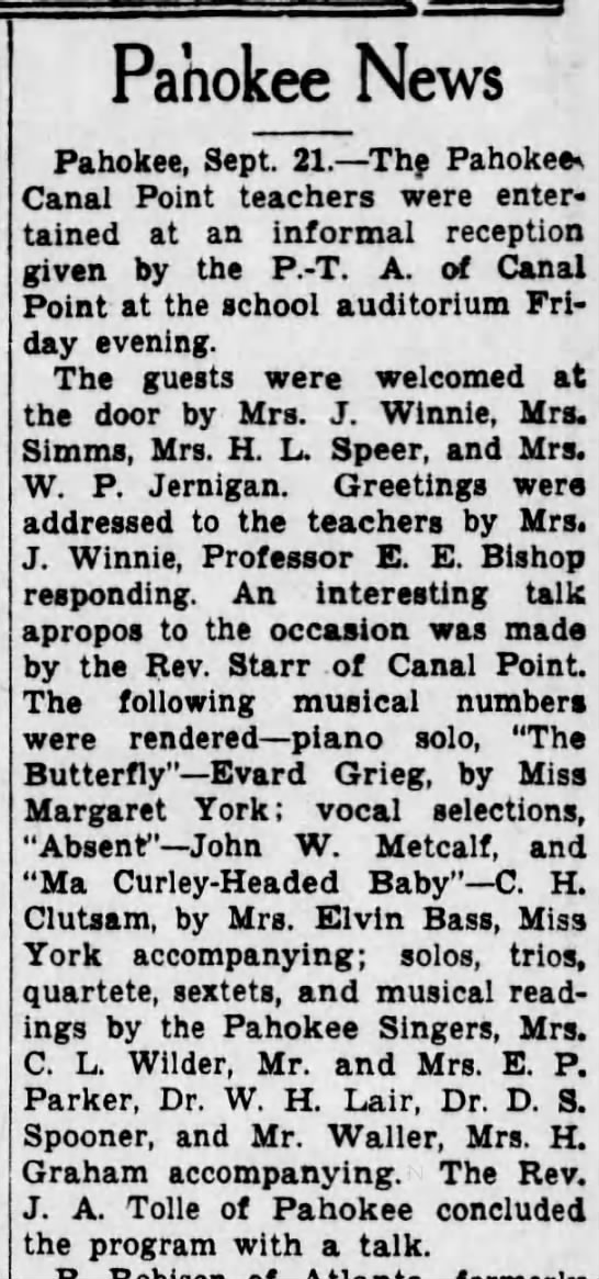 PTA talk by Starr Palm Beach Post 22 Sep 1930 pg  5