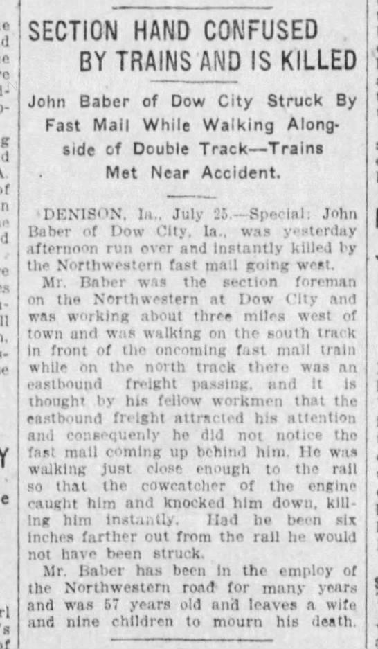 John Baber killed by train -