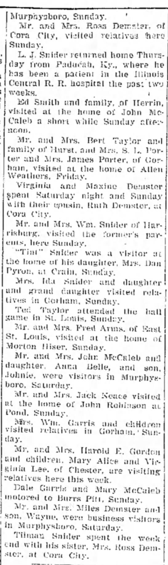 Demster and Snider info July 5, 1930 -