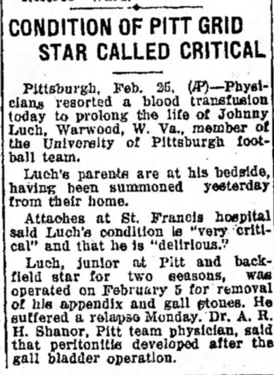John Luch - CONDITION OF PITT GRID STAR CALLED CRITICAL...