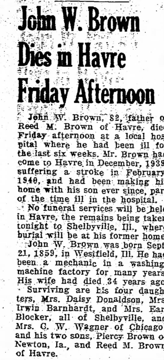JohnWesleyBrownDies17Jan1942HavreDailyNewsP2 -