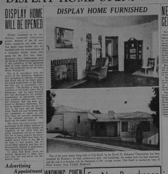 Display Home will Open - Oakland Tribune June 27, 1937 -