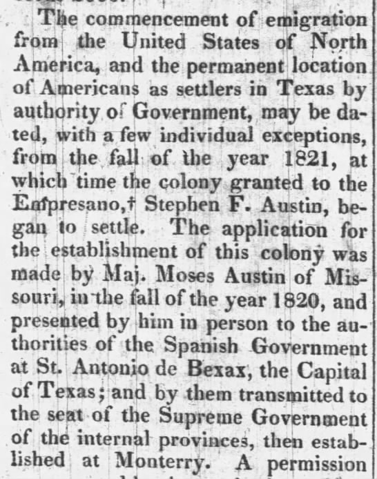 Moses Austin makes an application with the Spanish government to bring settlers to Texas -