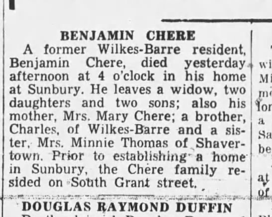 Chere, Benjamin - Obituary - Wilkes-Barre Times Leader, The Evening