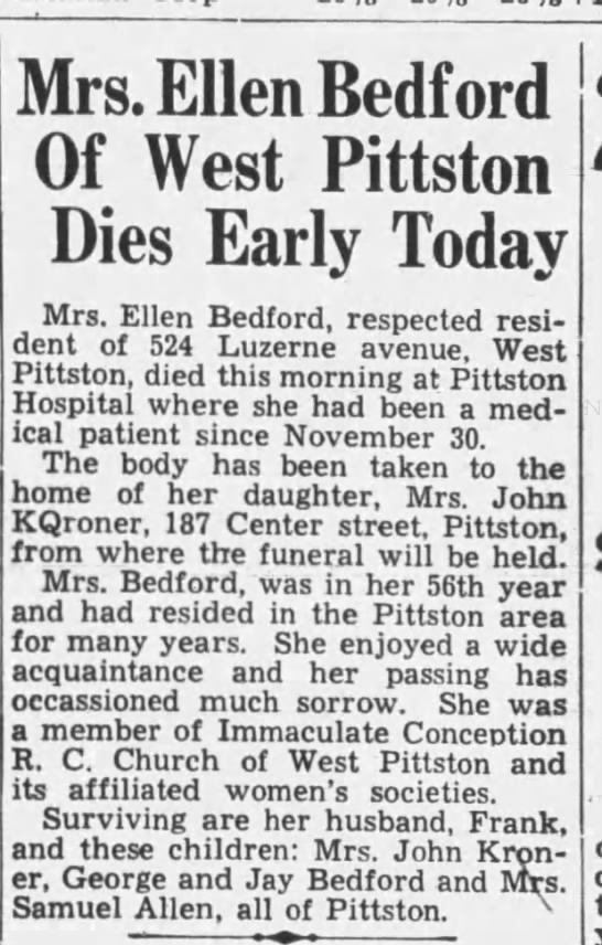 Ellen Bedford 2nd wife of Frank Bedford -