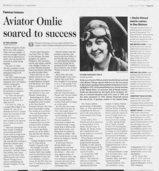 Aviator Omlie soared to success (Phoebe Fairgraves) -