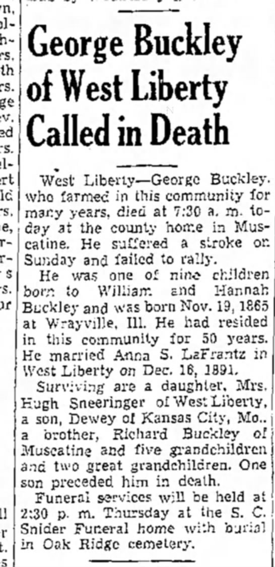 George Buckley obit -