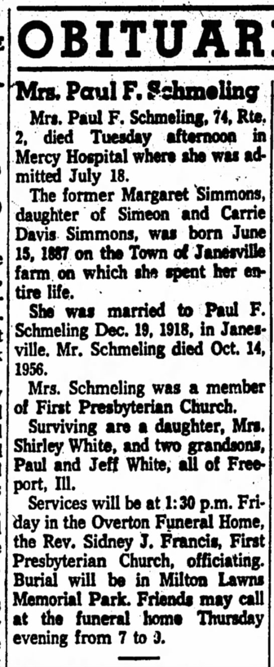 Maggie simmons death 2 aug 1961 janesvilledaily gazettepg2 -