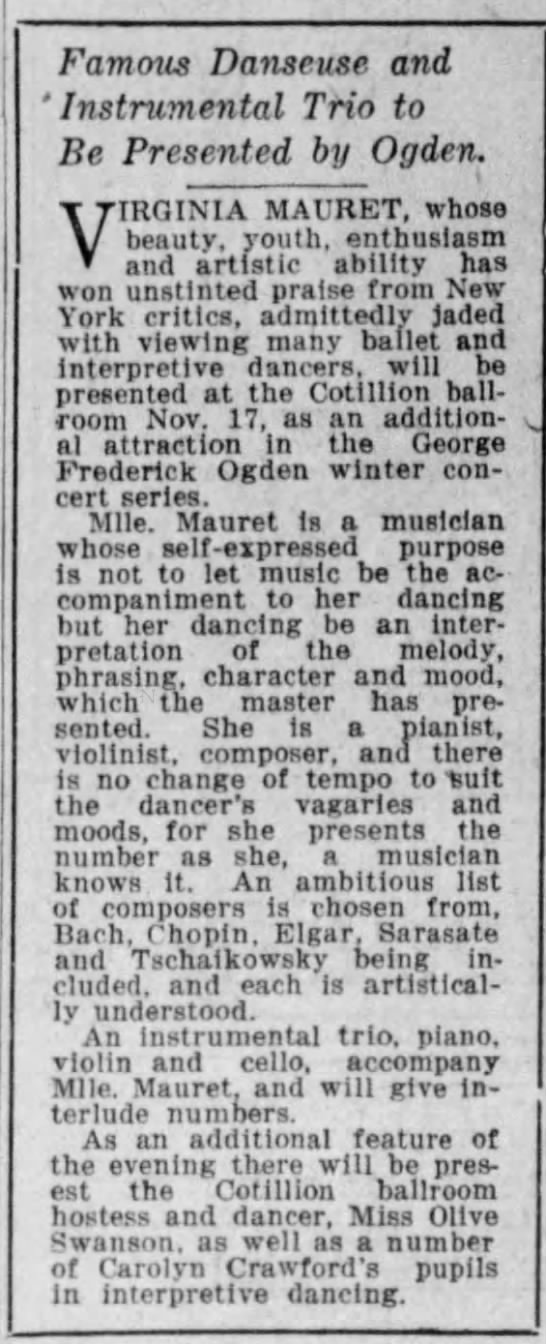 Virginia Mauret in Iowa 1921 -