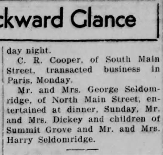 Mr. and Mrs. George Seldomridge of Clinton, IN entertain Mr. and Mrs. Harry Seldomridge -