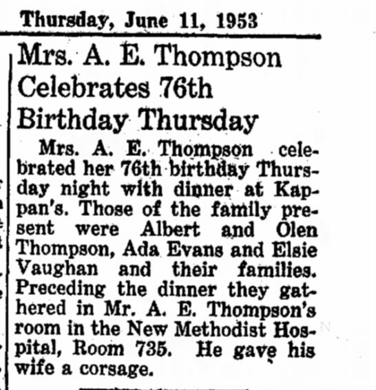 Thompson, Mrs. A E, 11 Jun 1953, birthday, Brookshire Times -