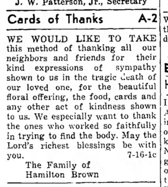 San Saba News and Star; Cards of Thanks; 16 July 1959 -