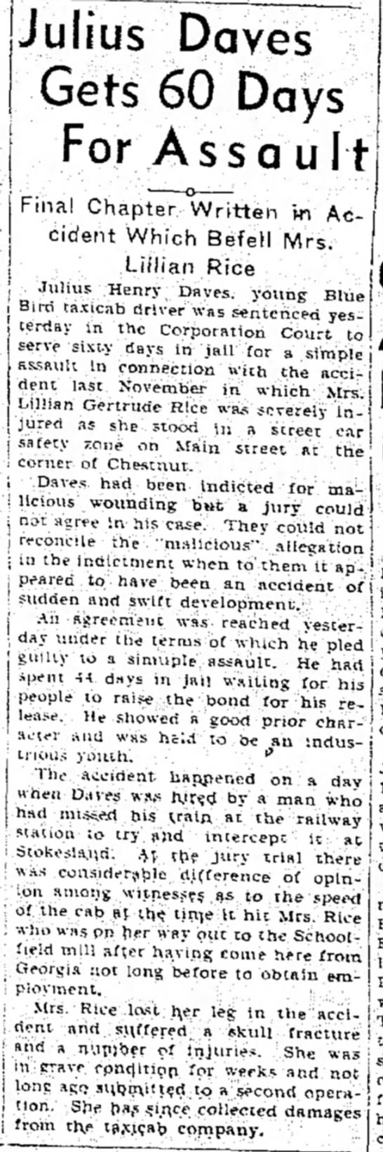 Julius Daves Gets 60 Days for Assault - The Bee - Tue, Jul 07, 1936 - Page 1 -